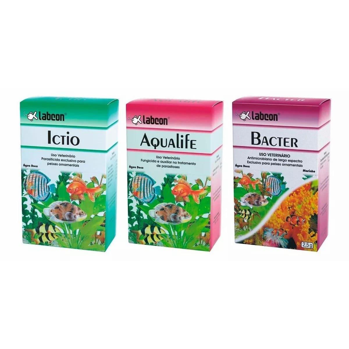 Kit Medicamento P/ Aquário Labcon  Ictio - Aqualife - Bacter