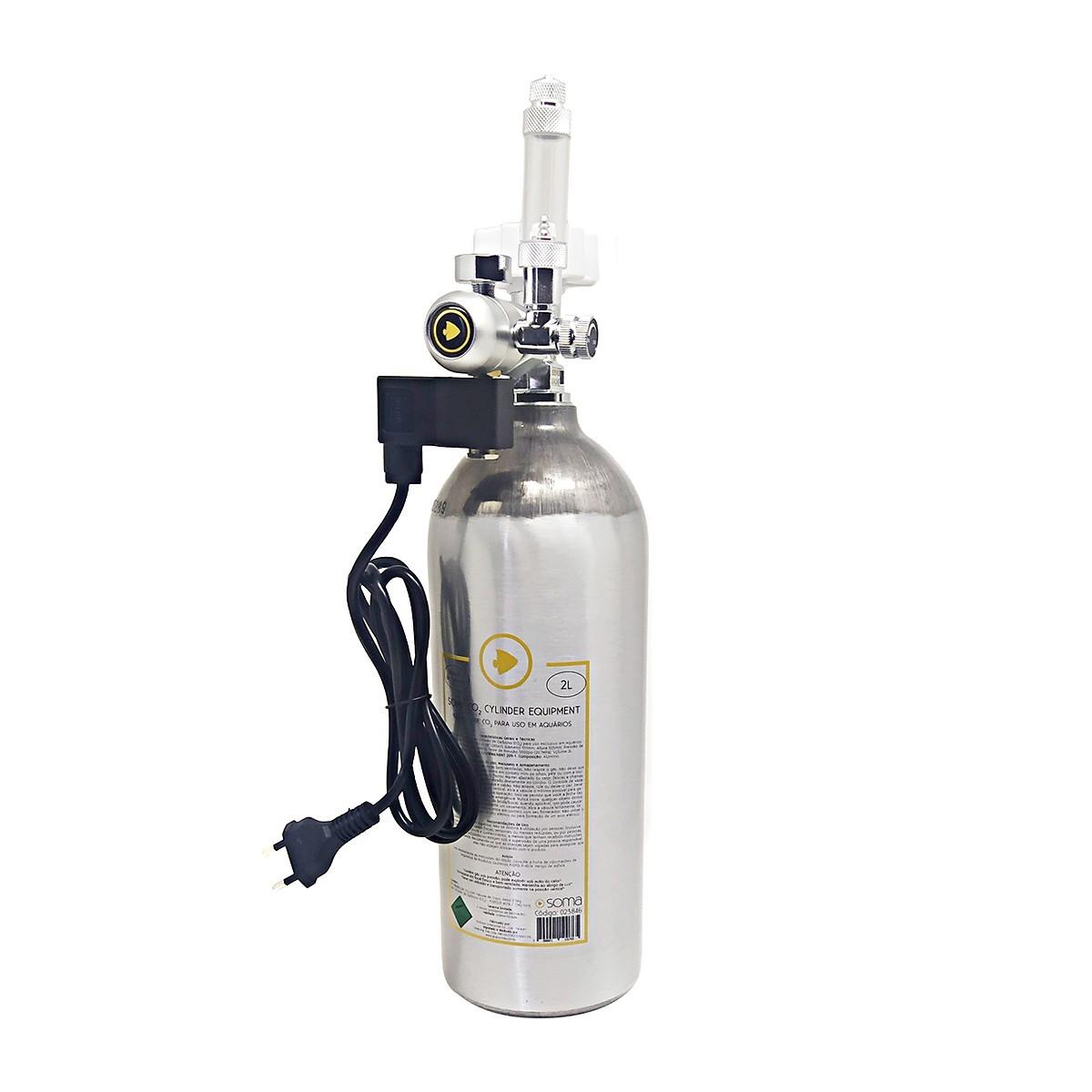 Kit Profissional de CO2 para Aquários Plantados Soma 2 Litros 220v