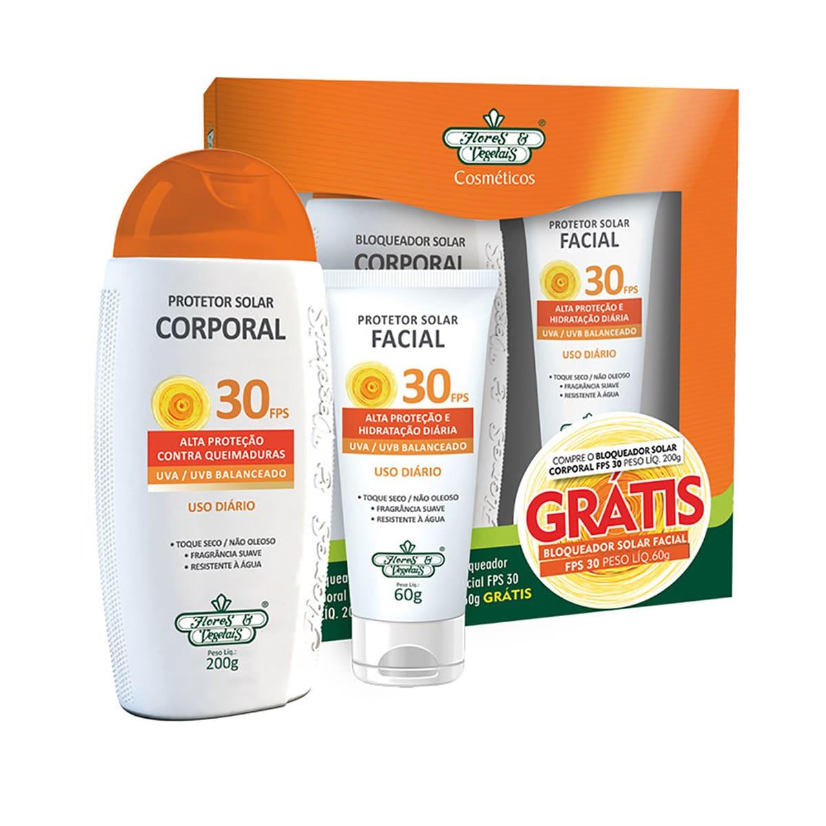 Kit Protetor Solar Corporal FPS 30 Flores e Vegetais - 200g