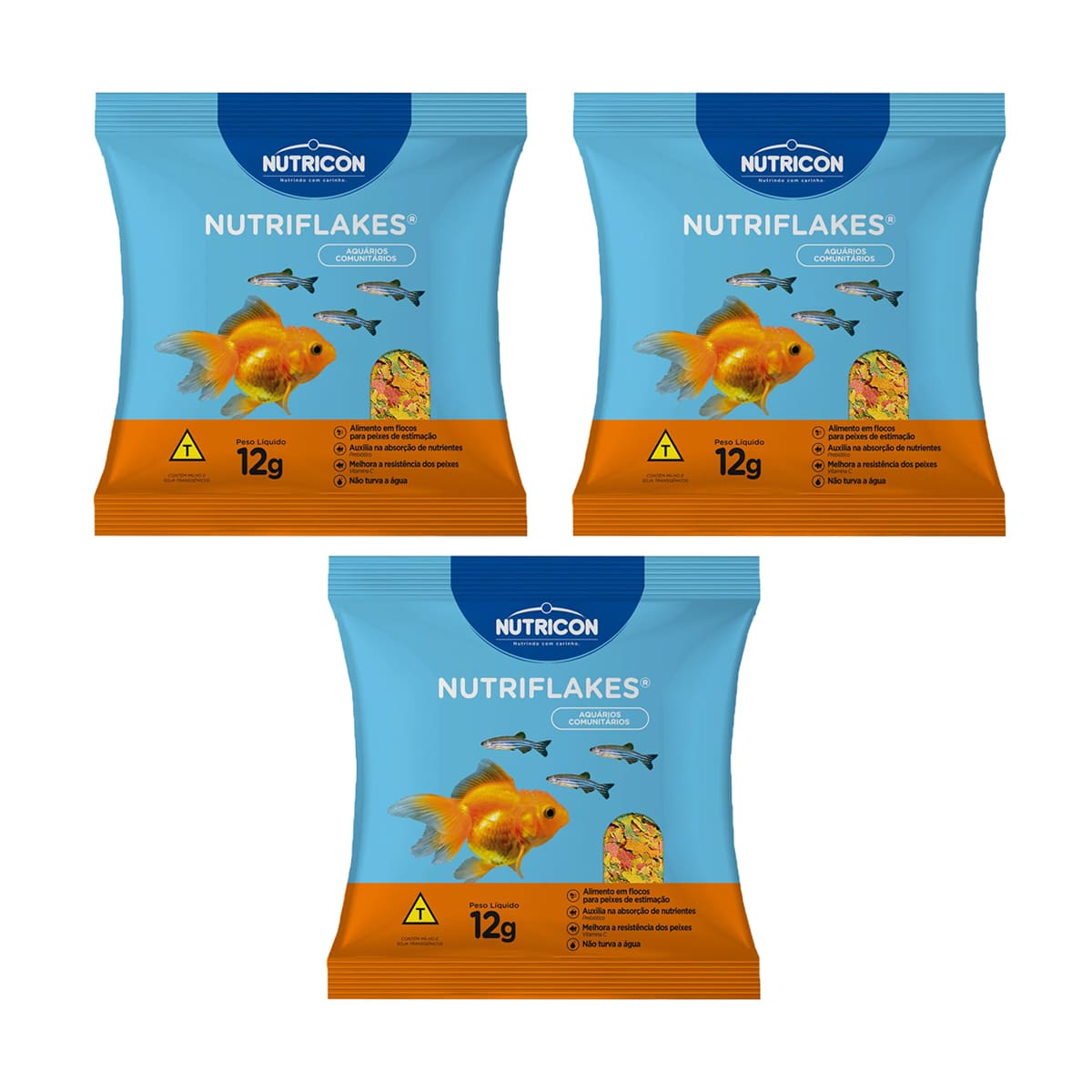 Kit Ração Nutricon Flocos Nutriflakes - 12g  (3 Unidades)