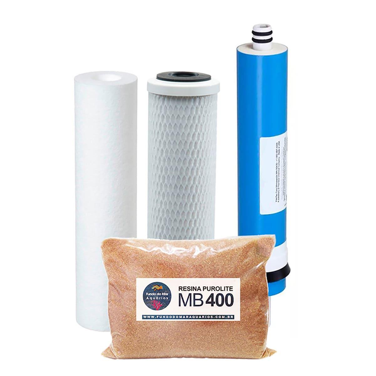 Kit Refil Deionizador 4 Estágios 100gpd Resina 400 - 400g