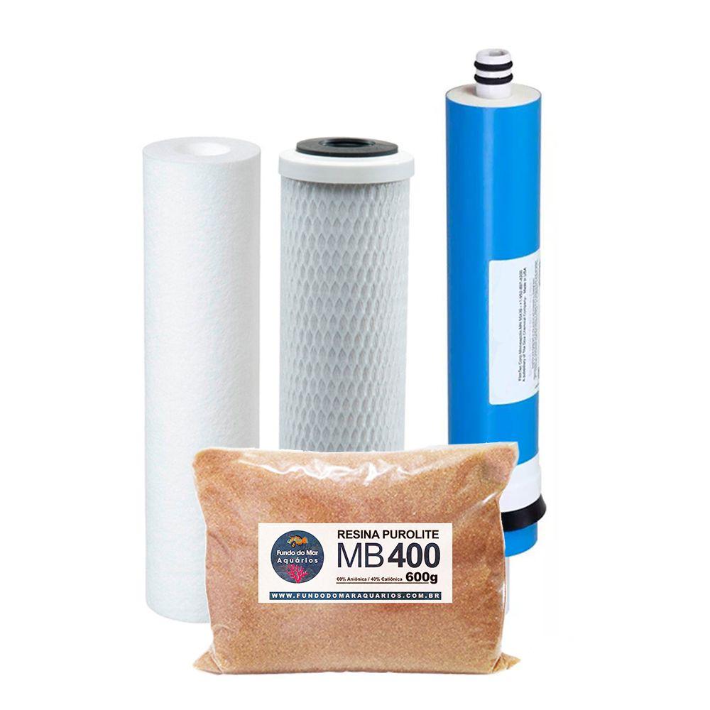 Kit Refil Deionizador 4 Estágios Membrana 50gpd Resina 400