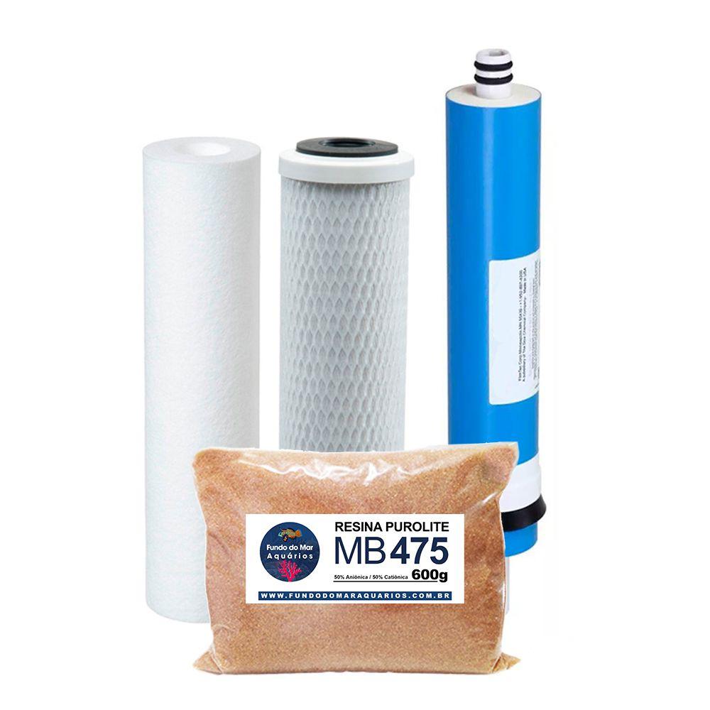 Kit Refil Deionizador 4 Estágios Membrana 50gpd Resina 475