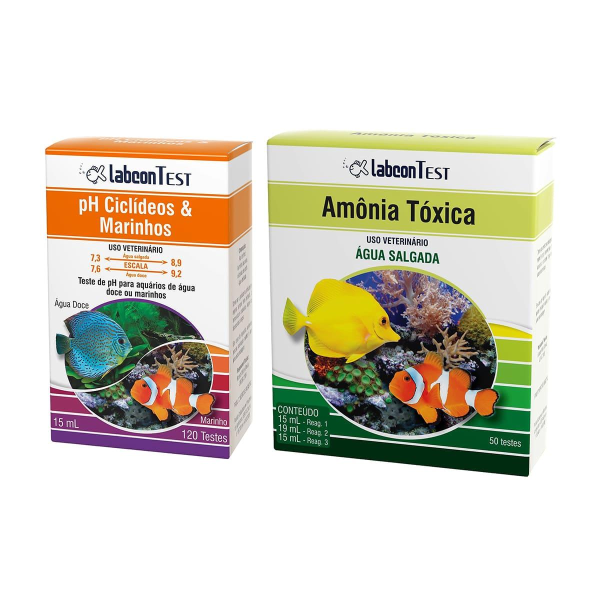 Kit Teste Labcon pH e Amônia para Aquários Marinhos
