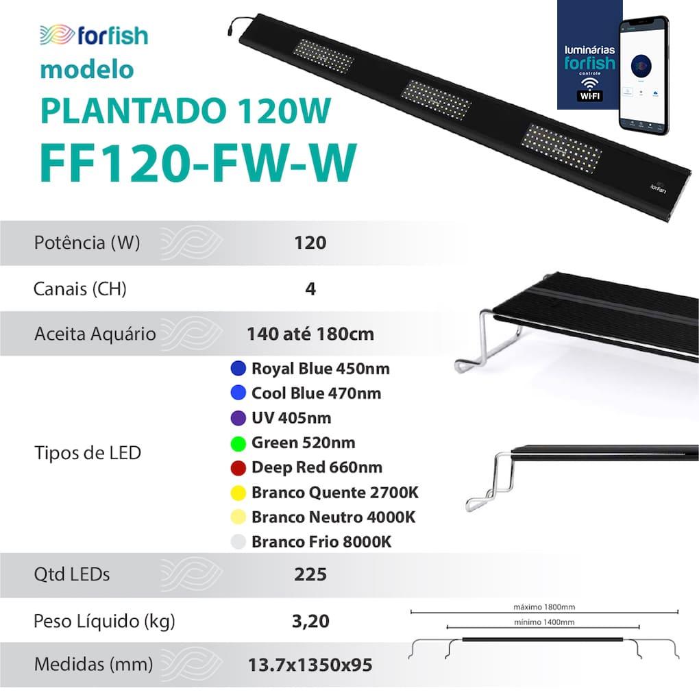 Luminária LED ForFish 120W p/ Aquário Plantado de 140 a 180cm