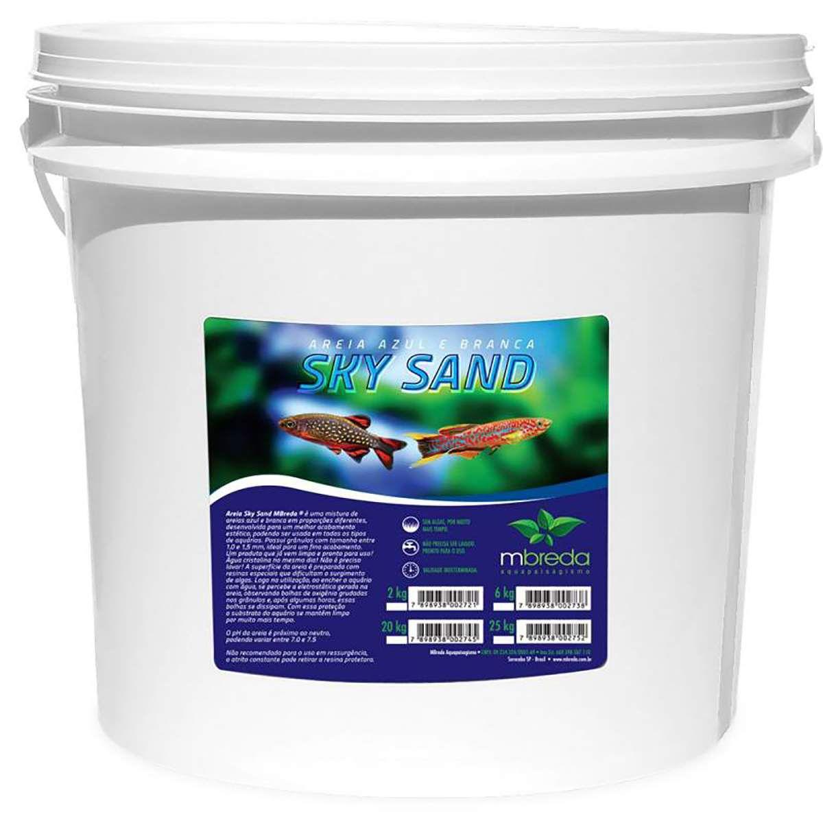 Mbreda Sky Sand Balde 25kg Areia Branca e Azul para Aquários