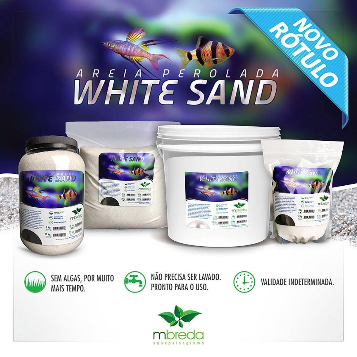 Mbreda Areia White Sand 2kg Stand Up Pouch Substrato Branco