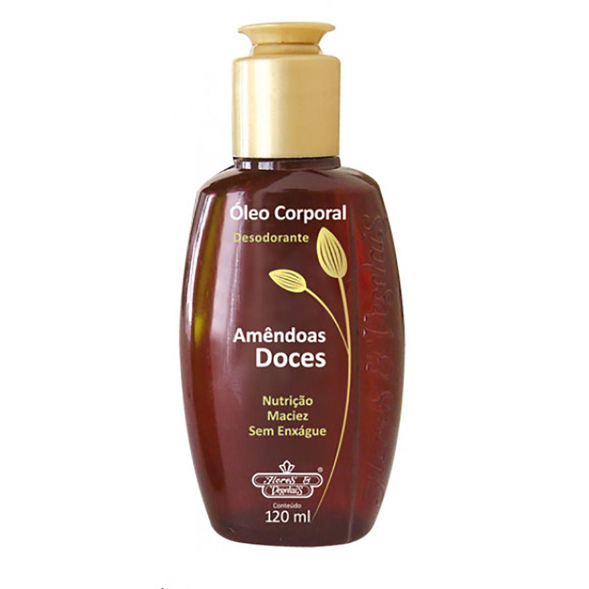 Óleo Corporal Desodorante Amêndoas Doces Flores e Vegetais 120ml