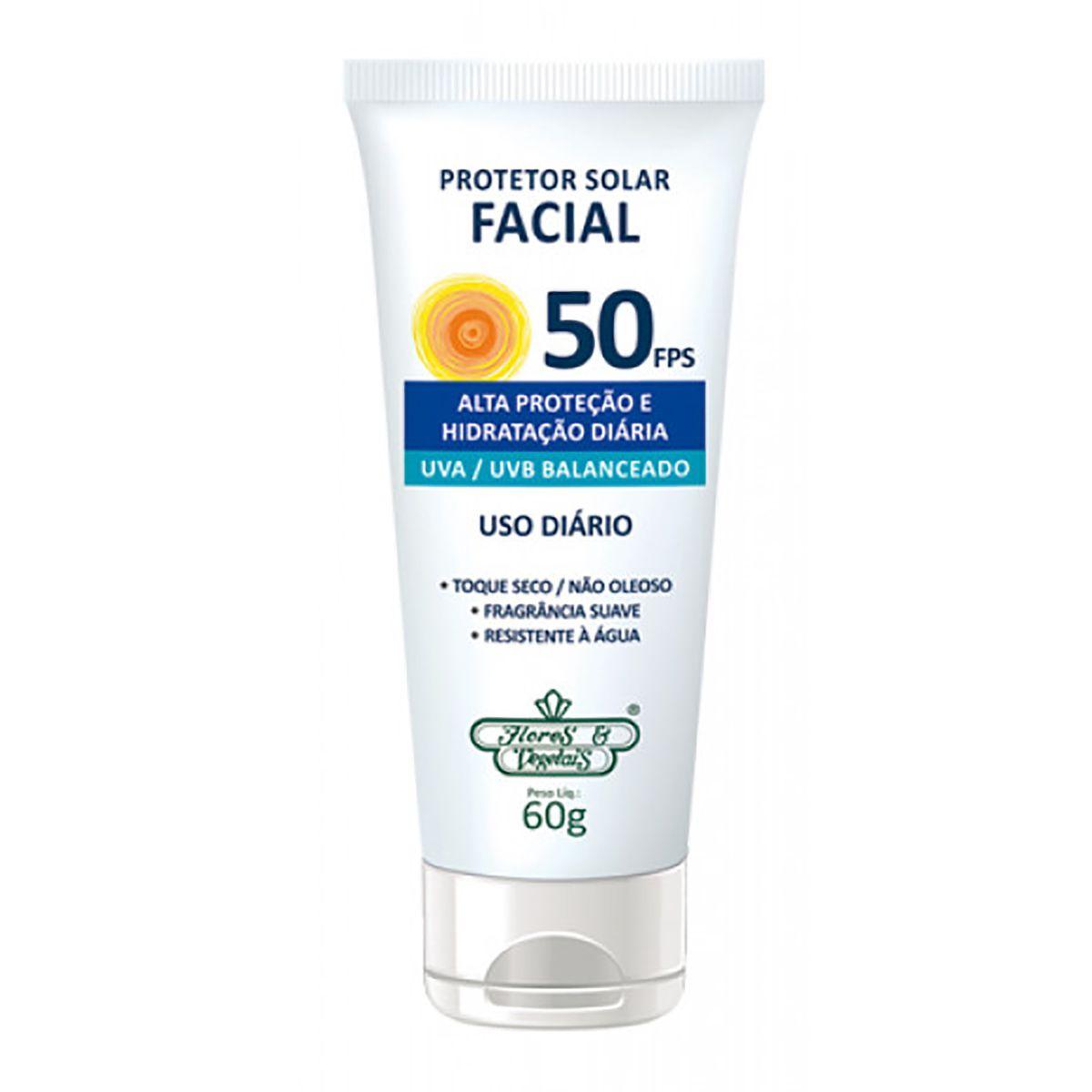 Protetor Solar Facial FPS 50 Flores e Vegetais - 60g