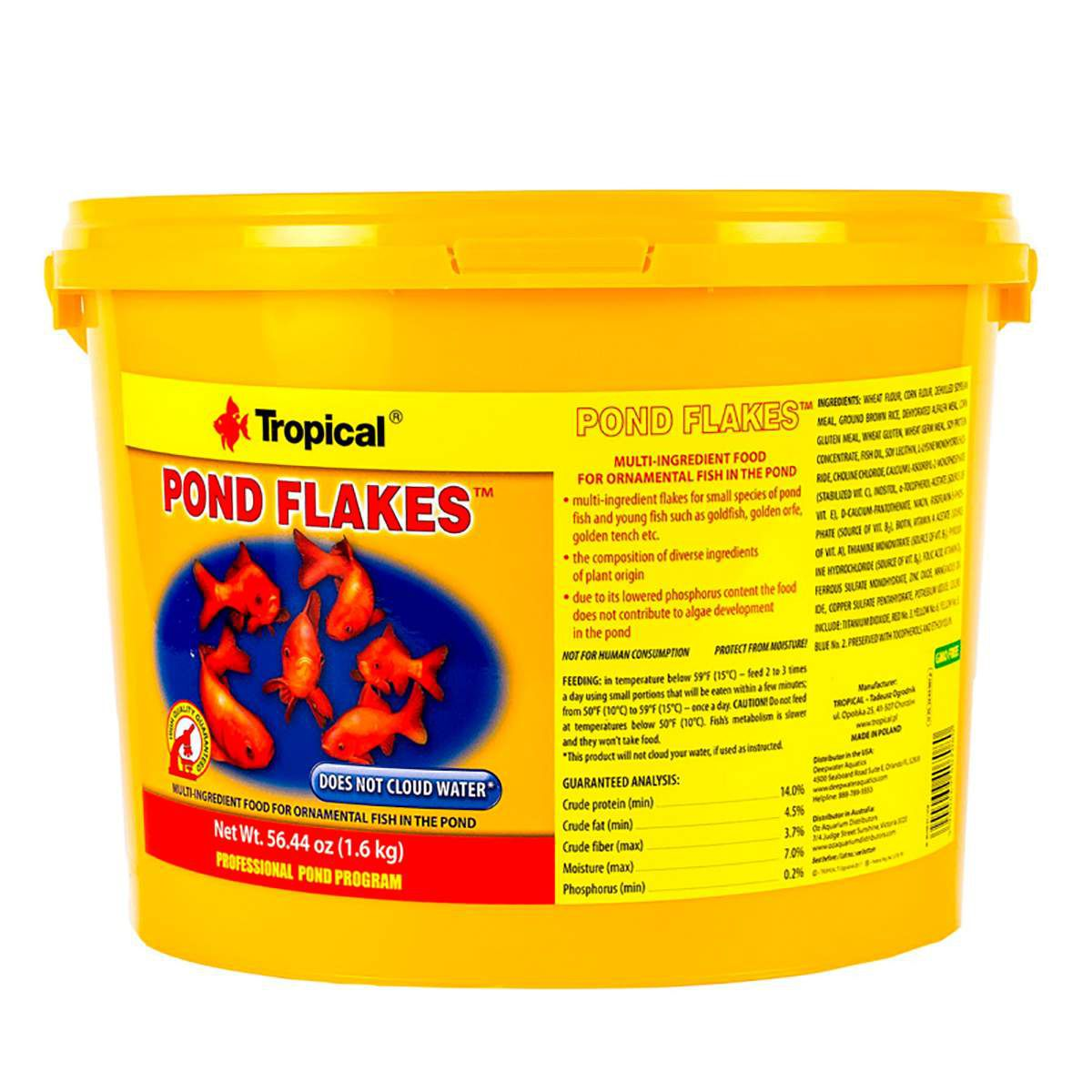 Ração Flocos p/ Peixes de Lago Tropical - Pond Flakes 1,6kg