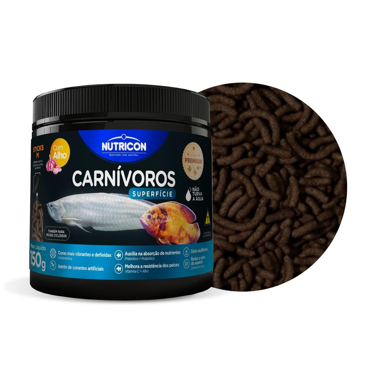 Ração Nutricon Carnivoros Superficie com Alho M -150g