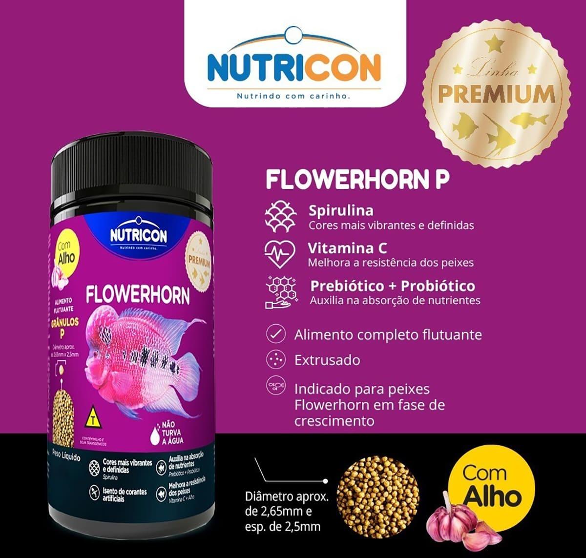 Ração Nutricon para Peixe Flowerhorn com Alho M - 250g