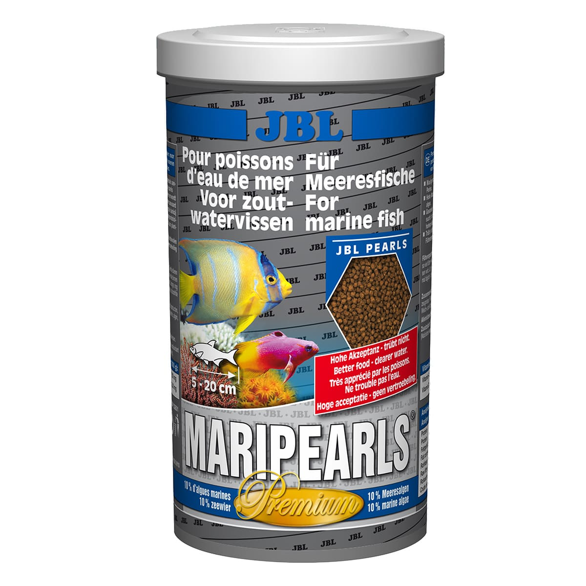 Ração para Peixes Marinhos JBL MariPearls 560g base de algas