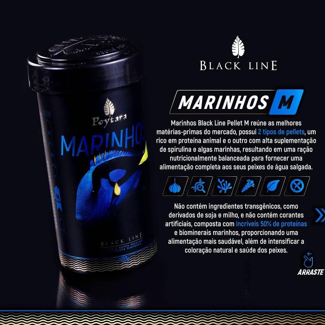 Ração Poytara Black Line Peixes Marinhos Médios - 120g