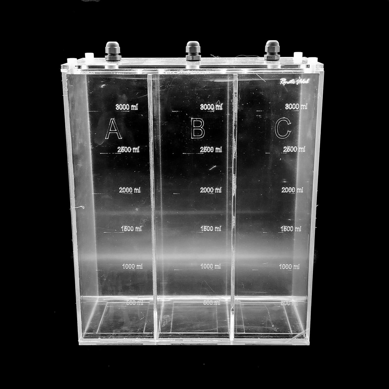 Reservatório H Caixa 3 seções - 9 Litros 3+3+3 (30x13x34cm)