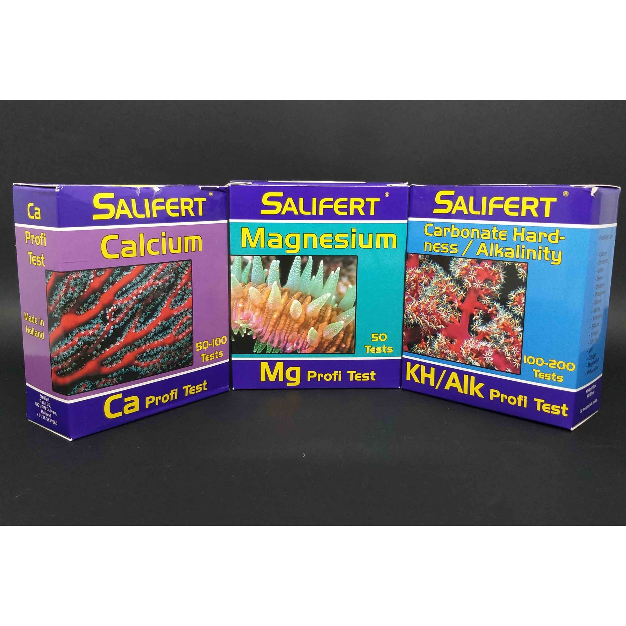 Salifert Teste Kit, Ca + Mg + KH