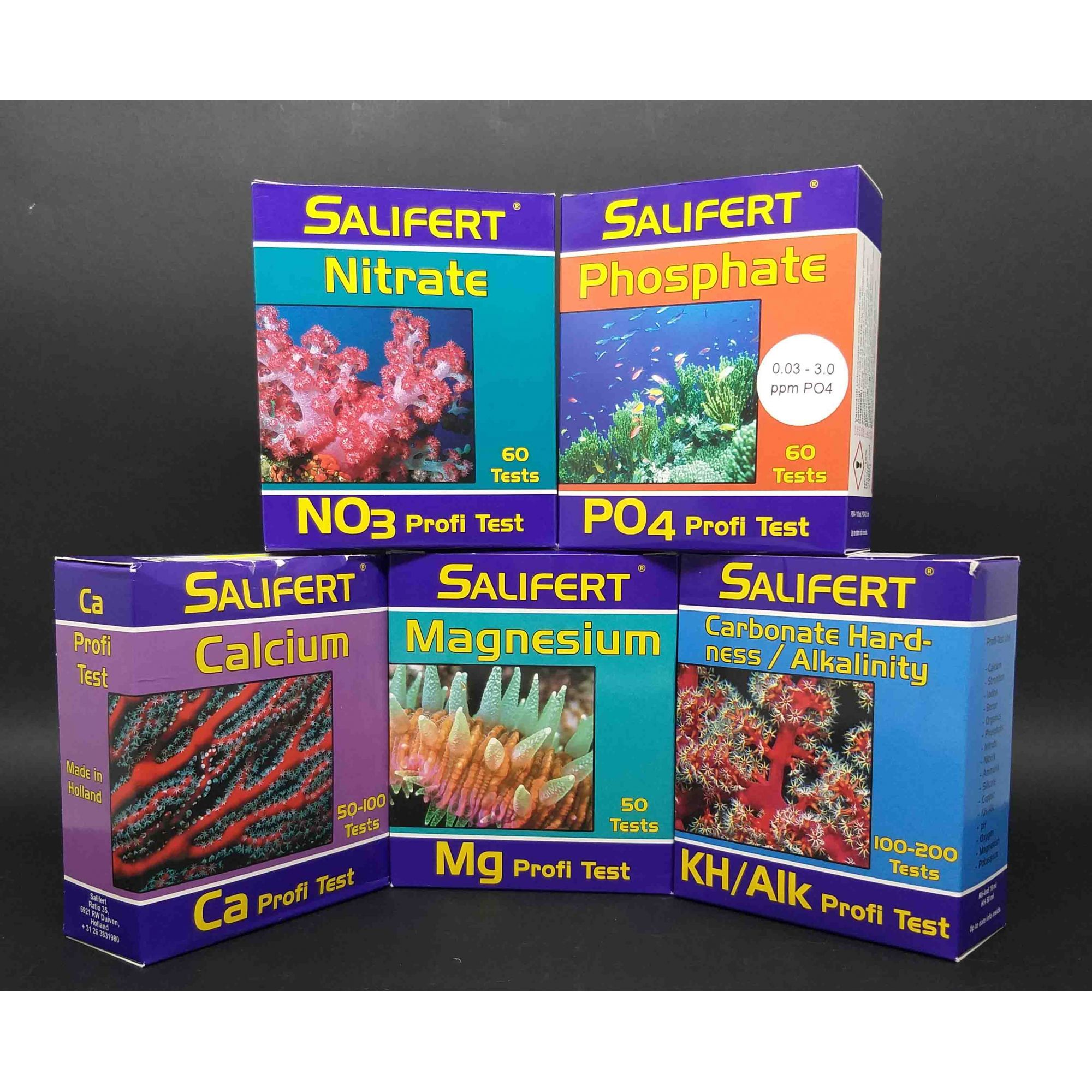 Salifert Teste Kit, Ca + Mg + KH + NO3 + PO4