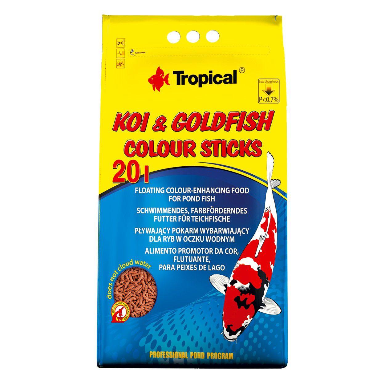 Tropical Ração Koi Goldfish Colour Sticks 1,6kg P/peixes Bag