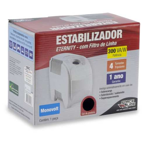 Estabilizador 300 Va/w 110v Force Line Eternity Preto
