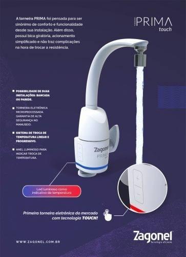 Torneira Eletrônica Prima Touch Branca Zagonel 220v 5500w