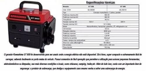 Gerador Energia 950w Gasolina 63 Cc Gt950, 2t Kawashima 220v