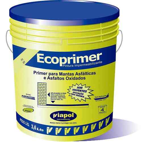 Primer Ecoprimer Viapol P/ Mantas Asfálticas Galão 3,6 Litros