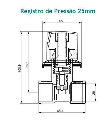 Registro De Pressão 25mm Branco Foz Viqua - 1100108