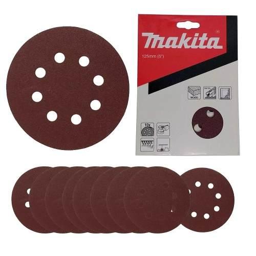 Disco De Lixa 5 Pol. G180 8 Furos 10 Unidades D54190 Makita