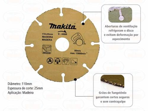Disco Serra Mármore Makita P/madeira Tungstênio 110mm B40668