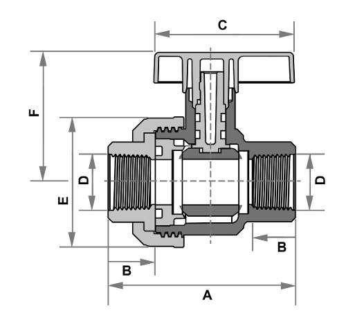 Registro De Esfera Roscável Fortlev 60mm 2'' Polegadas