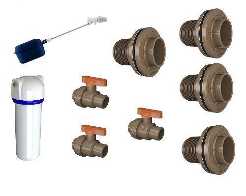 Kit Conexões Acessórios P/ Instalação Caixa D'água Fortlev C/ Filtro