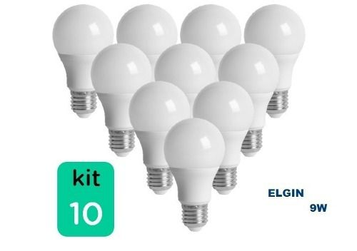 Kit 10 Lampada Led 9w 6.500k Branco Bulbo E27 Bivolt Elgin