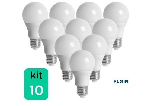 Kit 10 Lampada Led 12w 6.500k Branco Bulbo E27 Bivolt Elgin