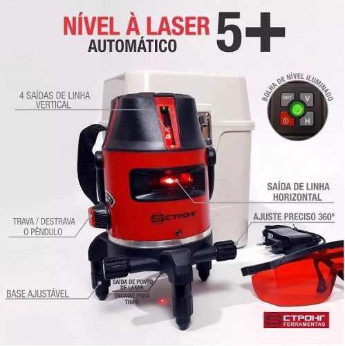 Nível Laser Prof Automático - 5 Linhas Com Maleta Strong