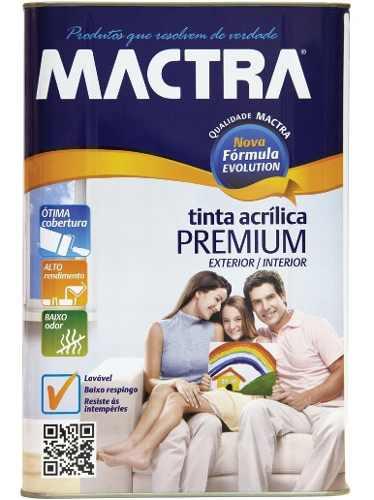 Tinta Látex Acrílica Branco Premium Mactra 18 Litros