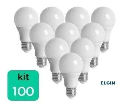 Kit 100 Lampada Led 9w 6.500k Branco Bulbo E27 Bivolt Elgin