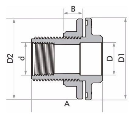 Kit 5 Adaptador C/ Flange E Anel Fortlev 40mm Soldável