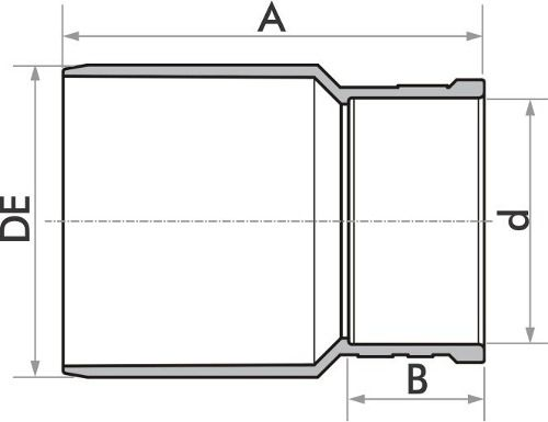 Kit 10 Bucha Redução Esgoto Longa Fortlev 50mm X 40mm