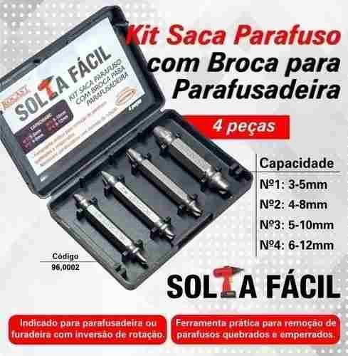Jogo Saca Parafuso C/ Broca 4 Pçs Rocast 96,0002 Solta Fácil