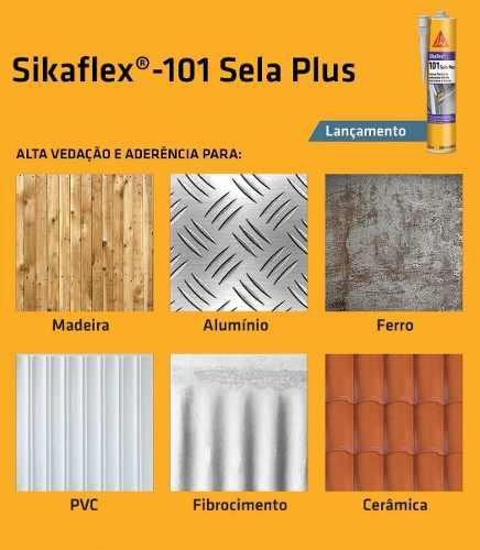 Sikaflex 101 Plus Selante Adesivo Flexível Veda Calha Cinza