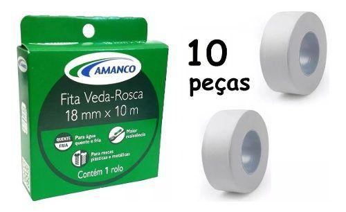 Kit 10 Fita Veda Rosca P/ Tubos E Conexões 18mm X 10m Amanco