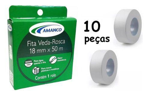 Kit 10 Fita Veda Rosca P/ Tubos E Conexões 18mm X 50m Amanco