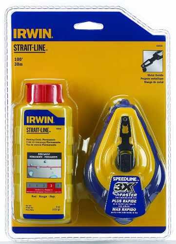 Kit Giz De Linha De Bater Para Marcação Vermelha 30m Irwin