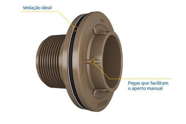 Kit 4 Adaptador C/ Flange E Anel Fortlev 60mm Soldável
