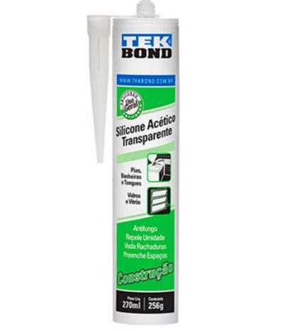 Adesivo de silicone acético 256g transparente incolor Tekbond