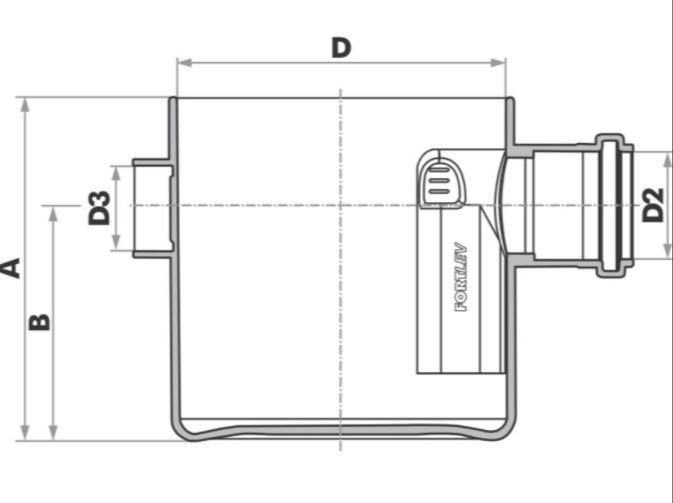 Corpo Caixa Sifonada Quadrada 150x150x50 Esgoto Fortlev