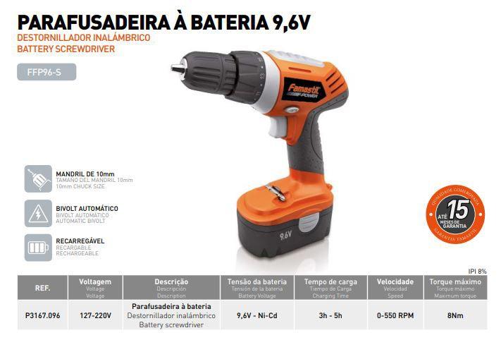 Furadeira Parafusadeira Bateria 9,6v 3/8 Bivolt Famastil