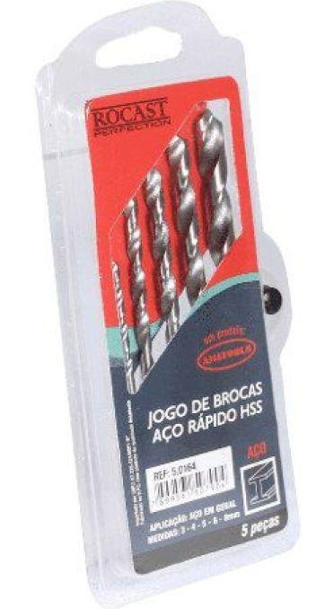 Jogo Brocas P/ Metal Aço Rápido Hss Milímetros 5 Pçs Rocast