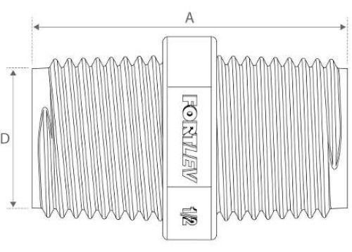 Kit 50 Niple Fortlev Pvc Roscável Para Água Fria 1/2''