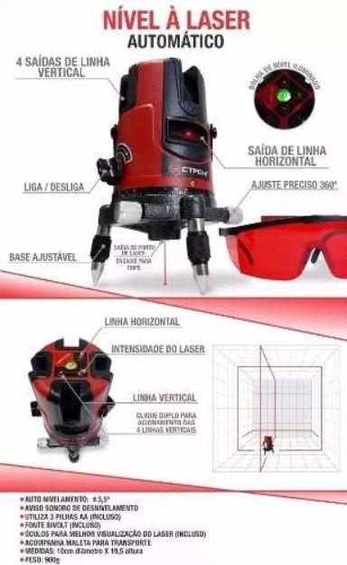 Nível Laser Profissional Autom 5 Linhas C/ Tripé e Maleta Strong